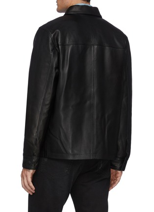 Back View - Click To Enlarge - FRAME DENIM - Leather Workwear Snap Button Jacket with Patch Pockets
