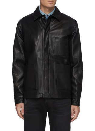 Main View - Click To Enlarge - FRAME DENIM - Leather Workwear Snap Button Jacket with Patch Pockets