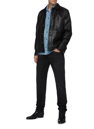 Figure View - Click To Enlarge - FRAME DENIM - Leather Workwear Snap Button Jacket with Patch Pockets