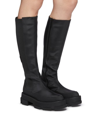 Figure View - Click To Enlarge - BOTH - Gao Knee Platform Stretch Leather Boot