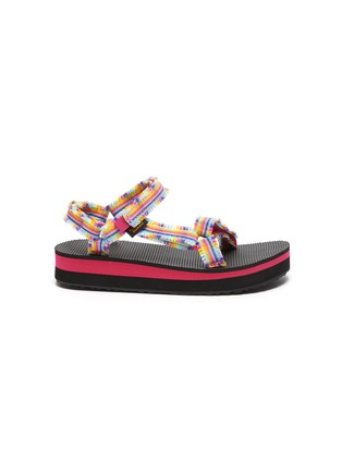 Main View - Click To Enlarge - TEVA - Midform Universal' Fray Rainbow Velcro Strap Toddler and Kids Sandals