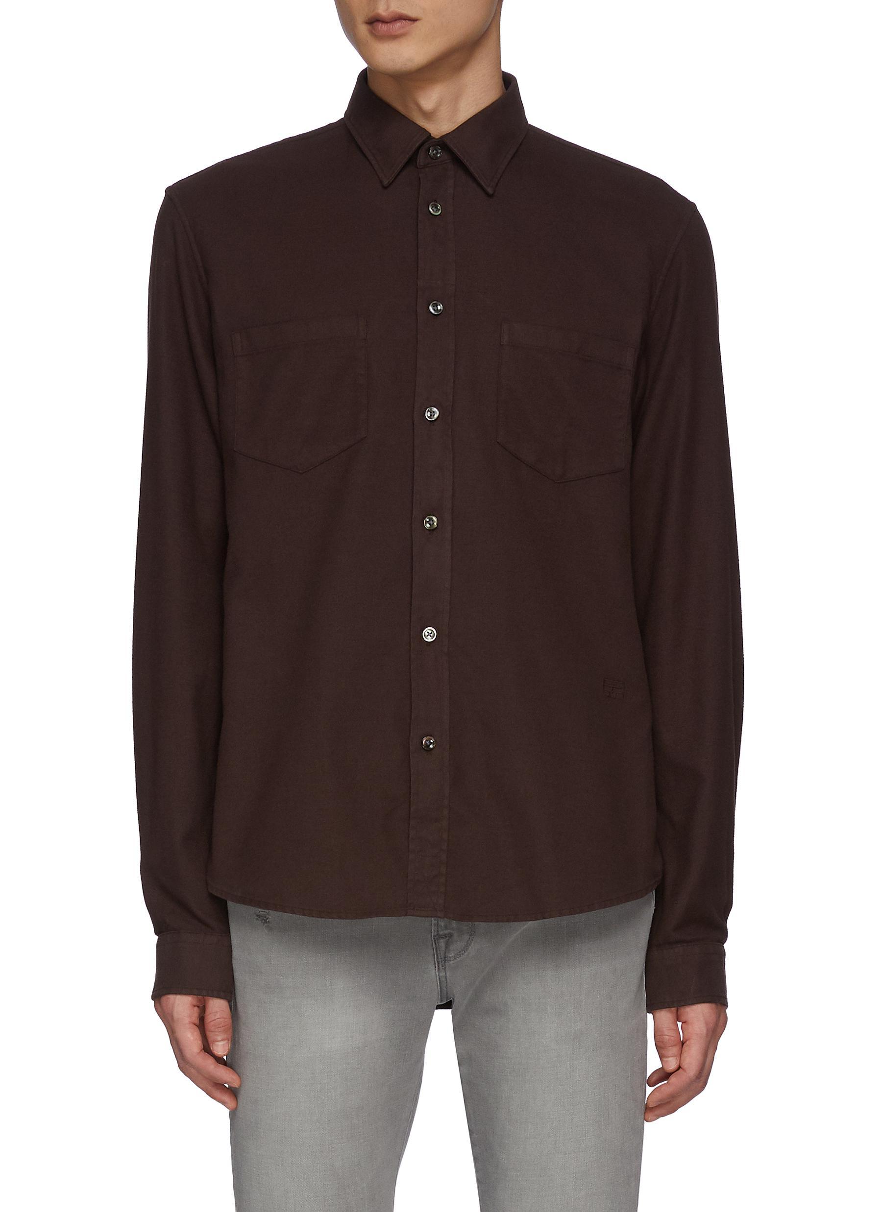 Double Pocket Cotton Blend Flannel Shirt