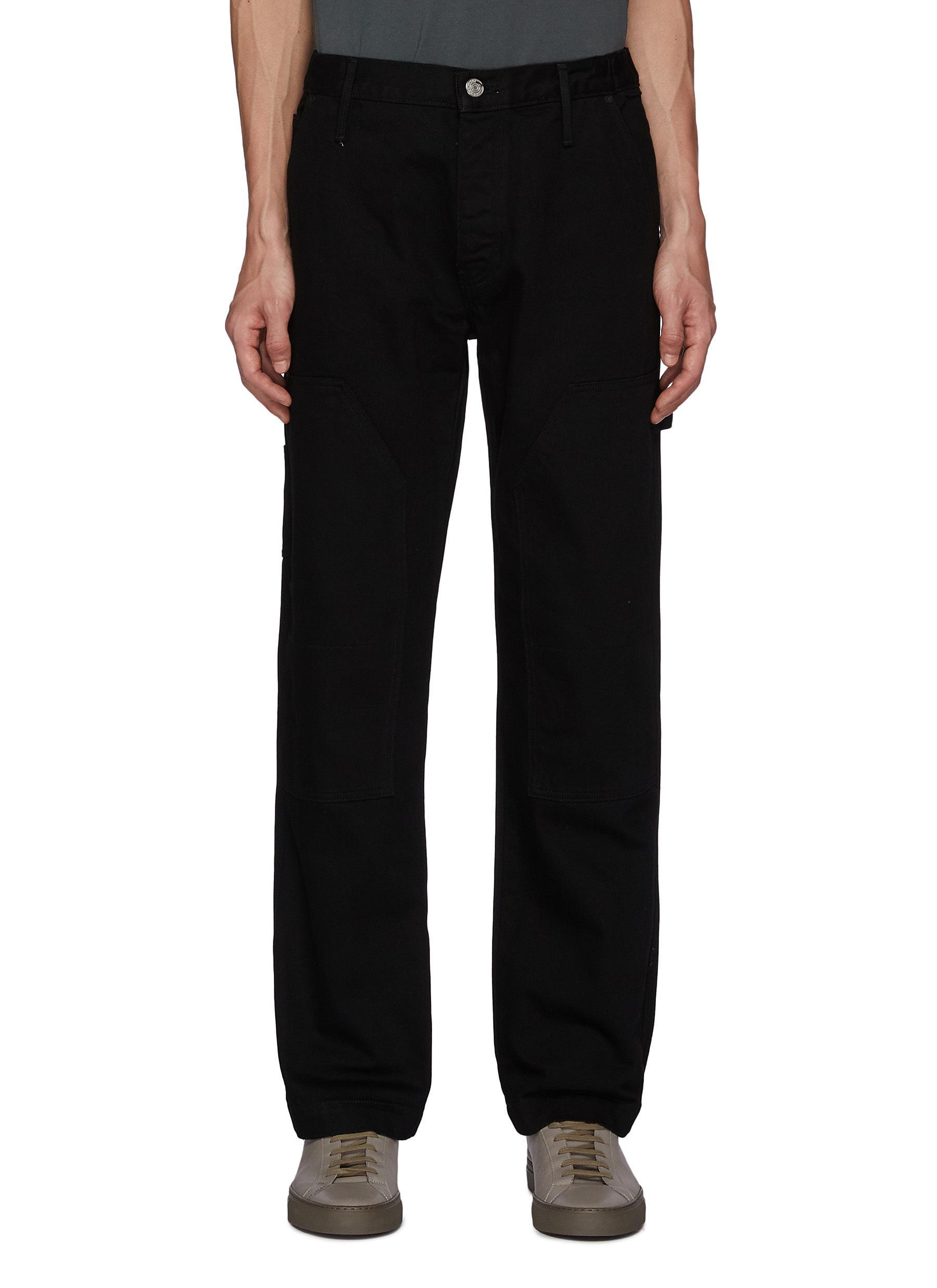 Side Pockets Constrasting Stitching Carpenter Pants