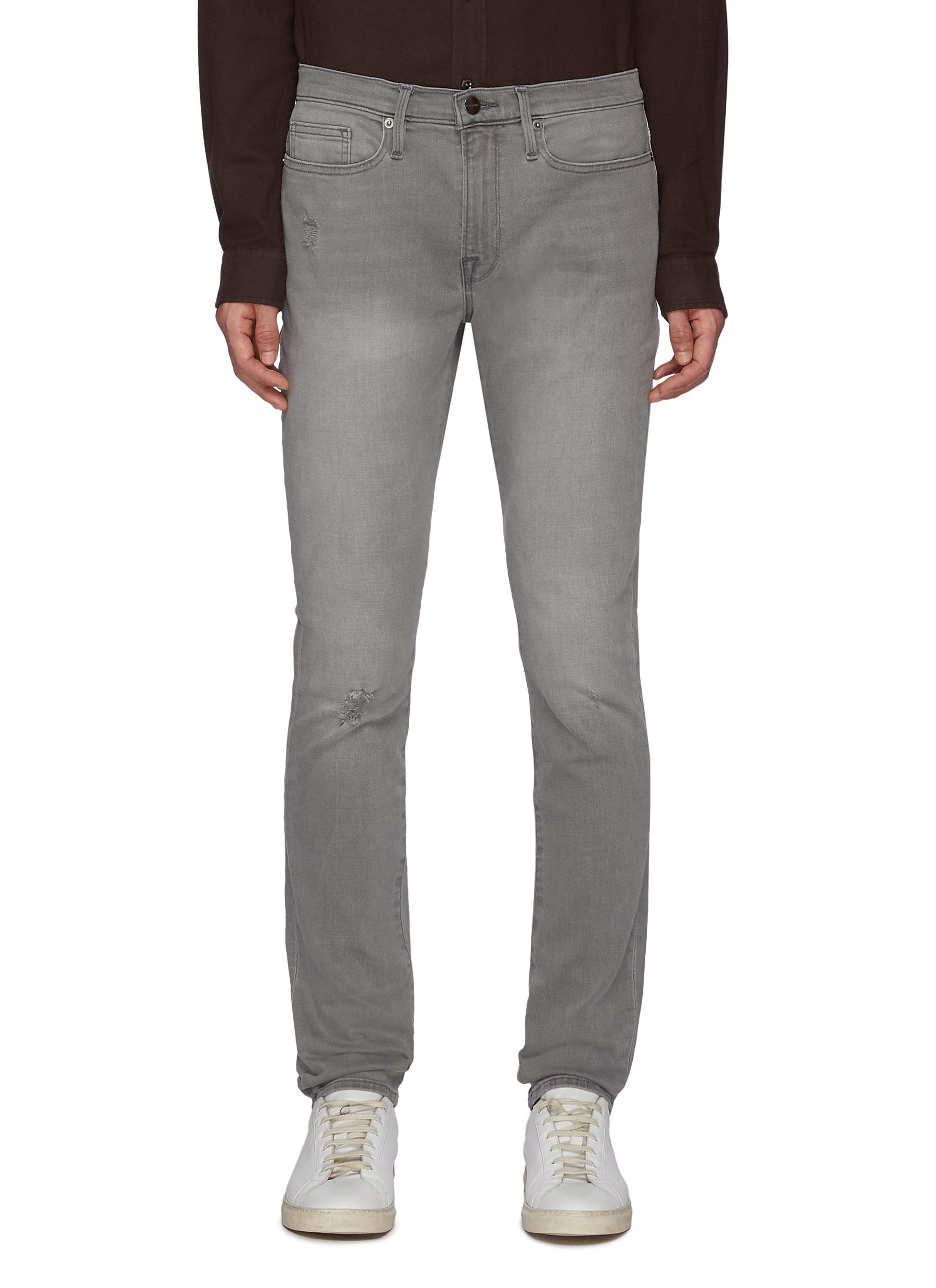 L'Homme' Ripped Washed Skinny Jeans