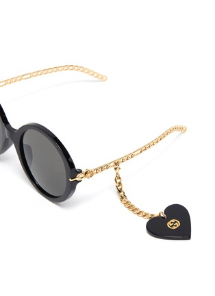 Detail View - Click To Enlarge - GUCCI - Chain Link Temple Round Acetate Frame Sunglasses