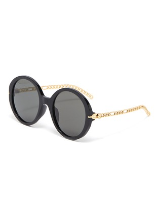 Main View - Click To Enlarge - GUCCI - Chain Link Temple Round Acetate Frame Sunglasses