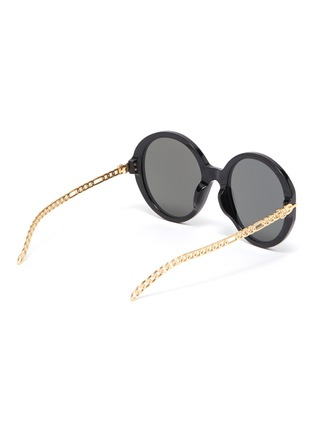Figure View - Click To Enlarge - GUCCI - Chain Link Temple Round Acetate Frame Sunglasses