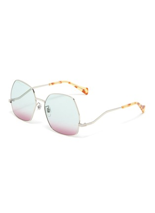 Main View - Click To Enlarge - GUCCI - Wavy Temple Angular Metal Frame Sunglasses
