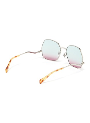 Figure View - Click To Enlarge - GUCCI - Wavy Temple Angular Metal Frame Sunglasses