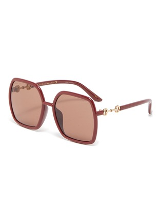 Main View - Click To Enlarge - GUCCI - Horseshoe Detail Temple Oversized Square Acetate Frame Sunglasses