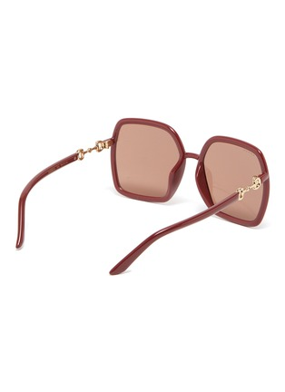 Figure View - Click To Enlarge - GUCCI - Horseshoe Detail Temple Oversized Square Acetate Frame Sunglasses