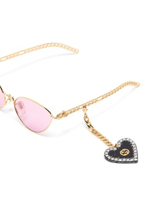 Detail View - Click To Enlarge - GUCCI - Chain Link Temple Metal Frame Cateye Sunglasses