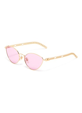 Main View - Click To Enlarge - GUCCI - Chain Link Temple Metal Frame Cateye Sunglasses
