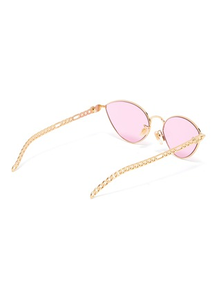 Figure View - Click To Enlarge - GUCCI - Chain Link Temple Metal Frame Cateye Sunglasses