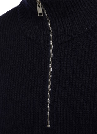 - FRAME DENIM - The Essential' Half Zipped Turtleneck Ribbed Wool Knit Sweater