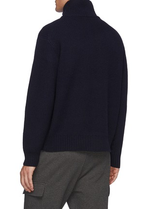 Back View - Click To Enlarge - FRAME DENIM - The Essential' Half Zipped Turtleneck Ribbed Wool Knit Sweater