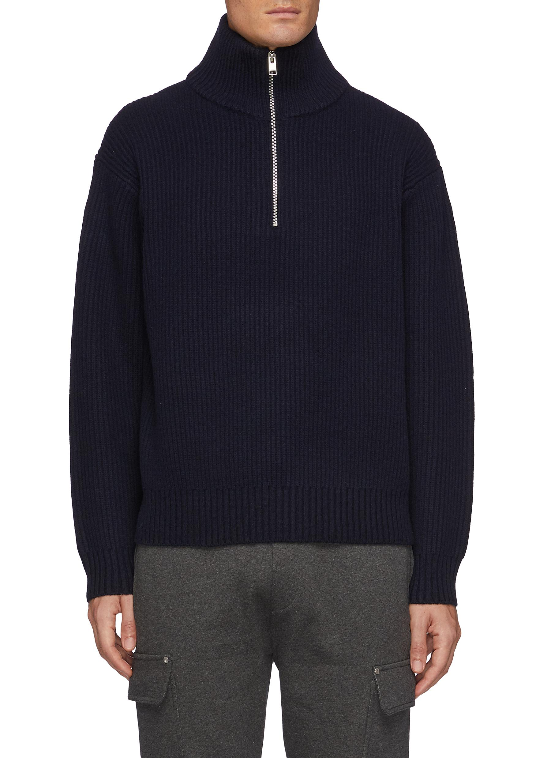 The Essential' Half Zipped Turtleneck Ribbed Wool Knit Sweater
