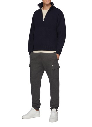 Figure View - Click To Enlarge - FRAME DENIM - The Essential' Half Zipped Turtleneck Ribbed Wool Knit Sweater