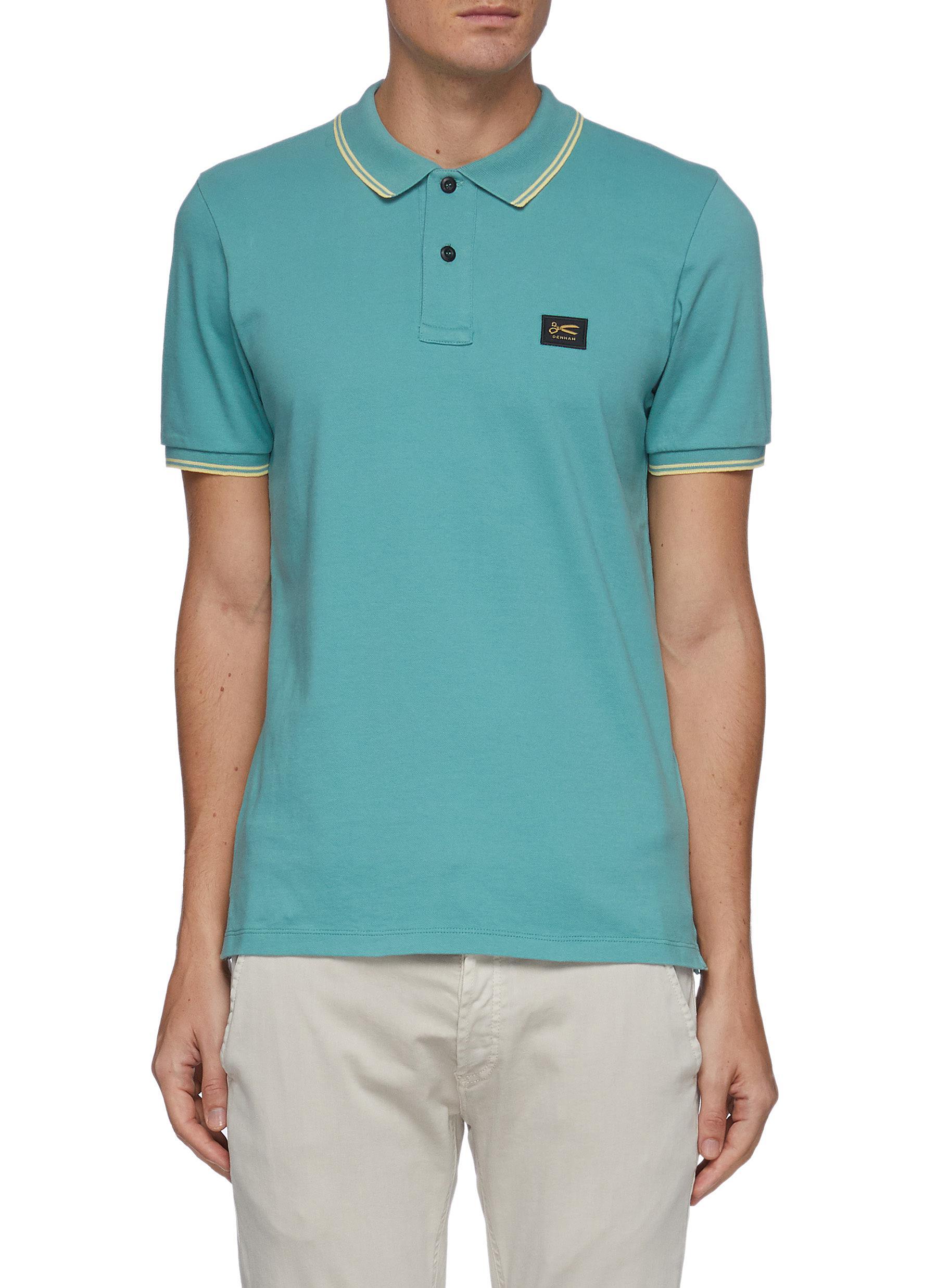 'Regency' Logo Patch Contrast Stripe Edge Cotton Polo Shirt