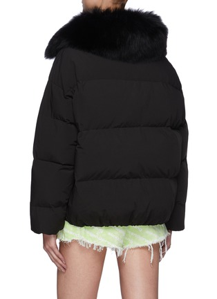 Back View - Click To Enlarge - YVES SALOMON - Fox Fur Collar Shortened Down Puffer Jacket