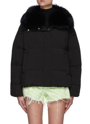 Main View - Click To Enlarge - YVES SALOMON - Fox Fur Collar Shortened Down Puffer Jacket
