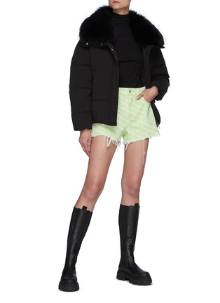 Figure View - Click To Enlarge - YVES SALOMON - Fox Fur Collar Shortened Down Puffer Jacket