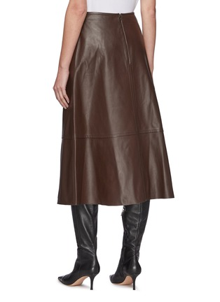 Back View - Click To Enlarge - YVES SALOMON - Lamb Leather A-line Skirt
