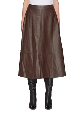 Main View - Click To Enlarge - YVES SALOMON - Lamb Leather A-line Skirt