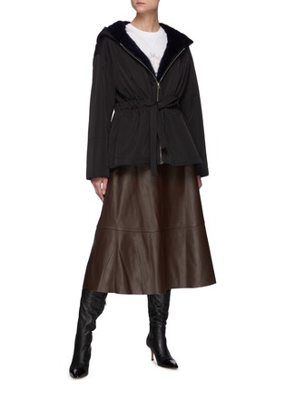 Figure View - Click To Enlarge - YVES SALOMON - Lamb Leather A-line Skirt