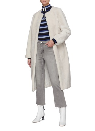Figure View - Click To Enlarge - YVES SALOMON - Single-breast Lamb Fur Long Coat