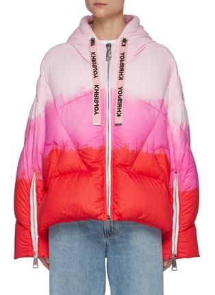 Main View - Click To Enlarge - KHRISJOY - Puff Khris' Drawstring Hooded Tie Dye Puffer Jacket
