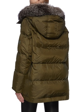 Back View - Click To Enlarge - ARMY BY YVES SALOMON - A-Line Down Fox Hood Trim Puffer Jacket