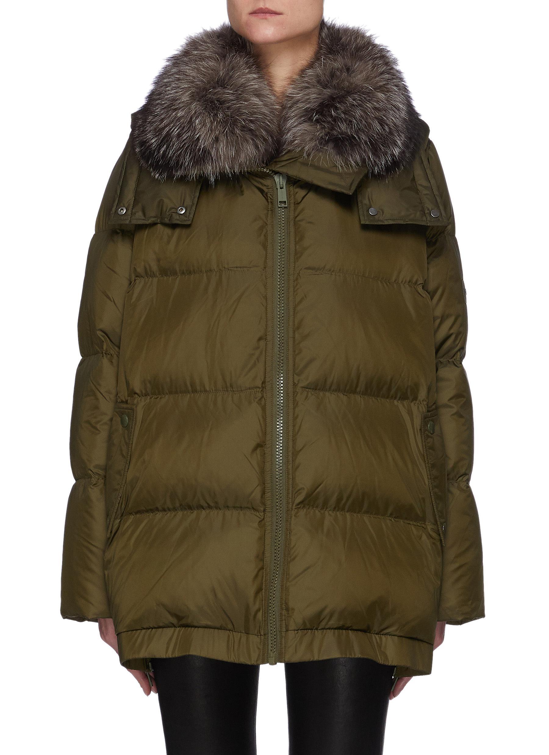 A-Line Down Fox Hood Trim Puffer Jacket