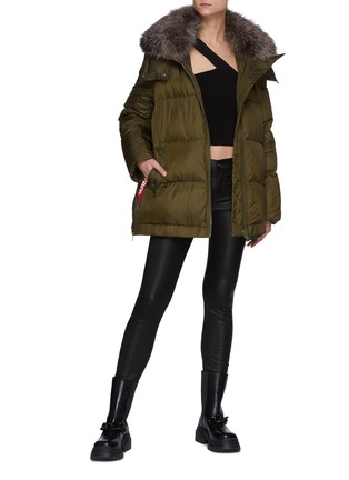 Figure View - Click To Enlarge - ARMY BY YVES SALOMON - A-Line Down Fox Hood Trim Puffer Jacket