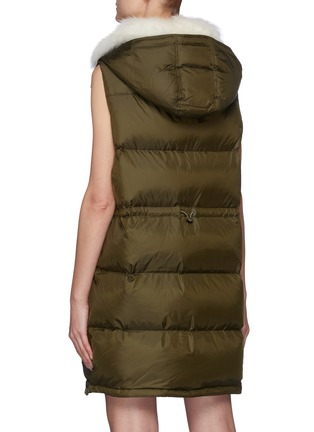 Back View - Click To Enlarge - ARMY BY YVES SALOMON - Tibetan Lambswool Collar Technical Puffer Vest