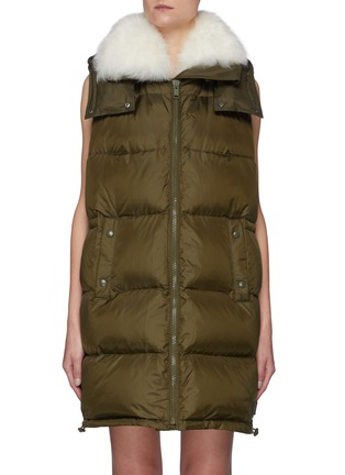 Main View - Click To Enlarge - ARMY BY YVES SALOMON - Tibetan Lambswool Collar Technical Puffer Vest