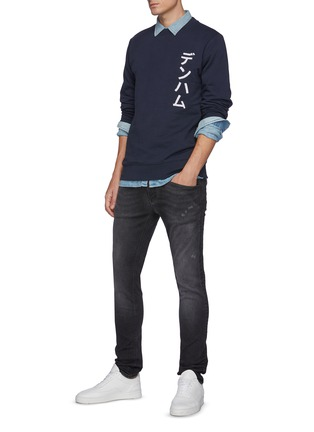 Figure View - Click To Enlarge - DENHAM - Bolder' Free Move Washed Black Skinny Jeans