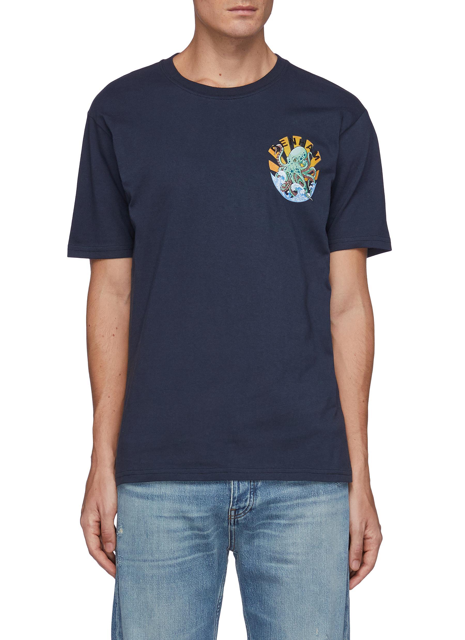 Jayden' Octopus Print Cotton Crewneck T-Shirt