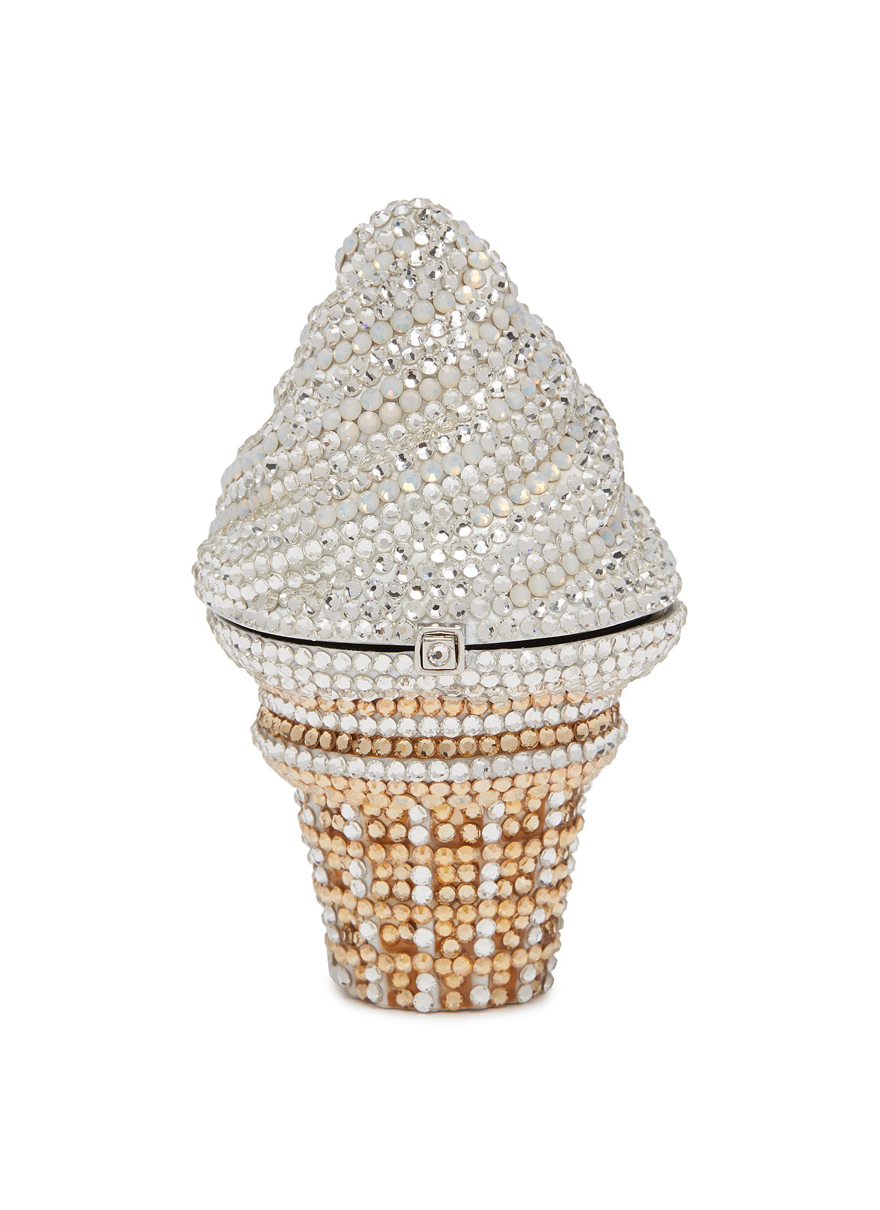 Ice Cream Cone Pillbox Vanilla' Embellished Bag