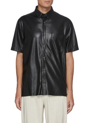 Main View - Click To Enlarge - NANUSHKA - Chest pocket vegan leather shirt