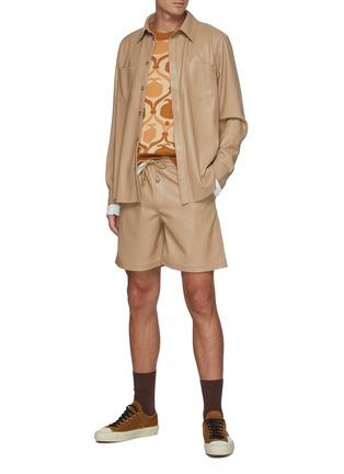 Figure View - Click To Enlarge - NANUSHKA - Drawstring vegan leather shorts