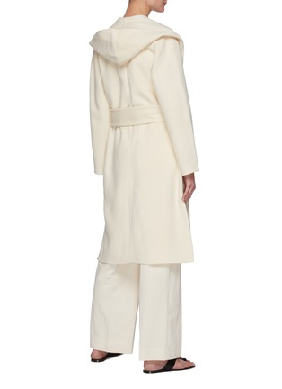 Back View - Click To Enlarge - VINCE - Belted Draped Hood Wool Blend Coat