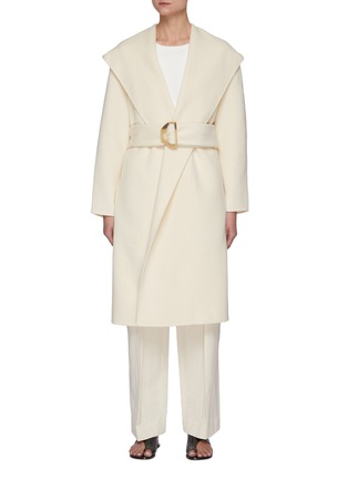 Main View - Click To Enlarge - VINCE - Belted Draped Hood Wool Blend Coat