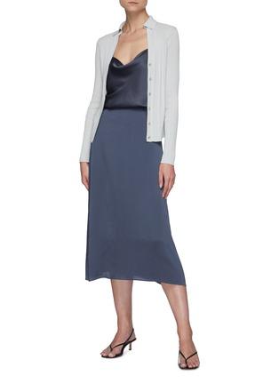 Figure View - Click To Enlarge - VINCE - Satin Slip Midi Skirt