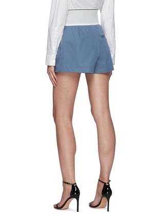 Back View - Click To Enlarge - ALEXANDERWANG - Branded Elastic Waist Cotton Blend Safari Shorts