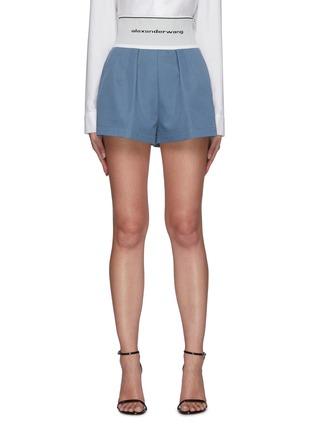 Main View - Click To Enlarge - ALEXANDERWANG - Branded Elastic Waist Cotton Blend Safari Shorts