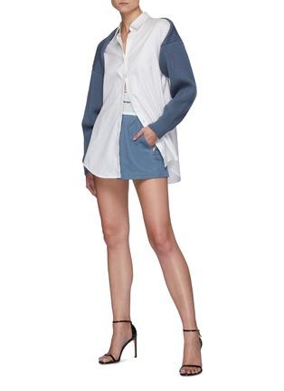 Figure View - Click To Enlarge - ALEXANDERWANG - Branded Elastic Waist Cotton Blend Safari Shorts