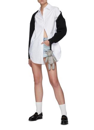 Figure View - Click To Enlarge - ALEXANDERWANG - Distressed Hem Bleached High Rise Denim Shorts