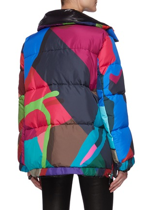 Back View - Click To Enlarge - SACAI - x KAWS Vibrant Camouflage Print Puffer Jacket