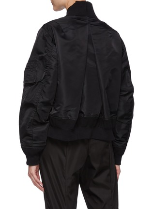 Back View - Click To Enlarge - SACAI - Back Pleat Crop Nylon Twill Bomber Jacket